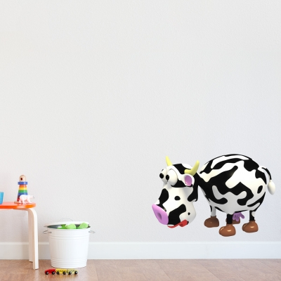 3D Cow Printed Wall Decal