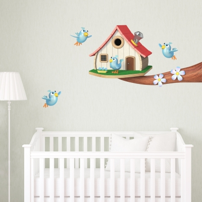 3D Birdhouse Branch Wall Decal