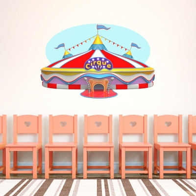 3D Circus Tent Printed Wall Decal