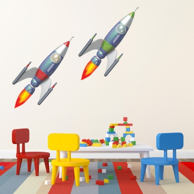 3D Twin Rocket Ships Printed Wall Decal