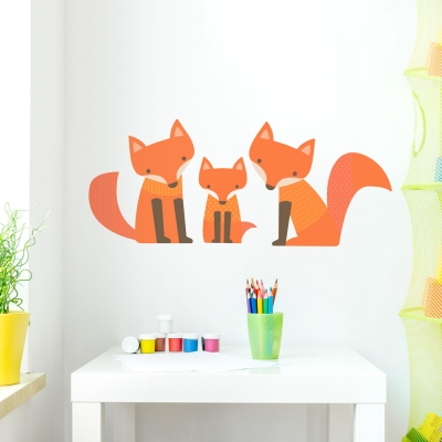 Fox Family Wall Decal in All Orange