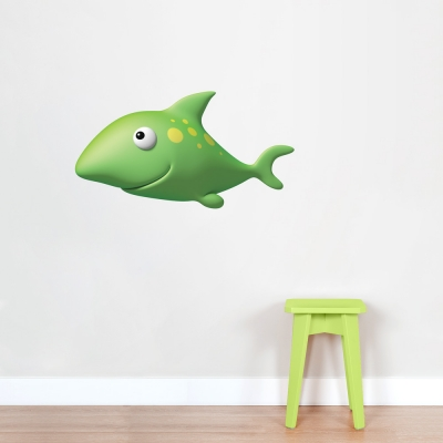 3D Green Shark Printed Wall Decal
