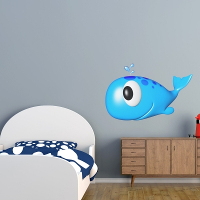3D Baby Whale Printed Wall Decal