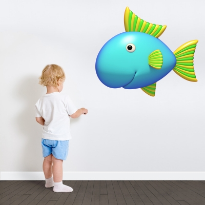 3D Bright Blue Fish Printed Wall Decal