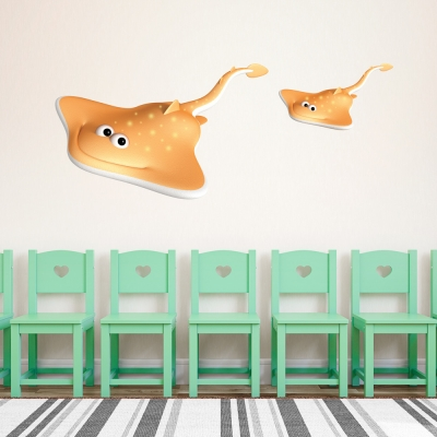3D Sting Rays Printed Wall Decal