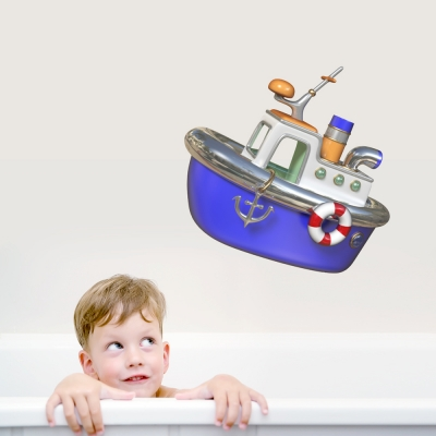3D Tug Boat Printed Wall Decal