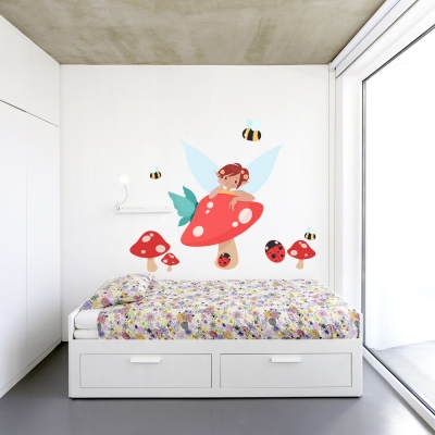 Fairy In The Mushrooms Printed Wall Decal