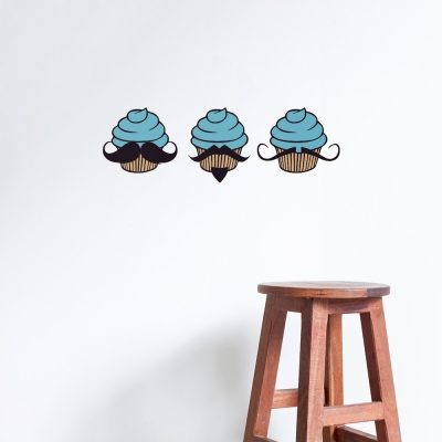 Mustache Cupcakes Teal Printed Wall Decal