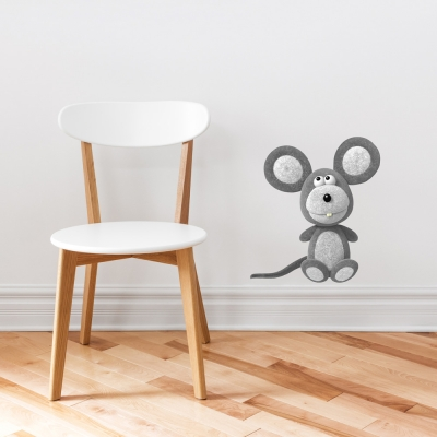 3D Plush Mouse Printed Wall Decal