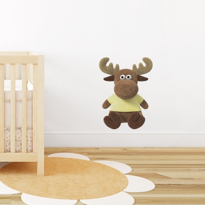 3D Plush Moose Printed Wall Decal