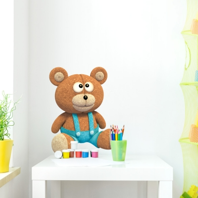 3D Plush Teddy Printed Wall Decal