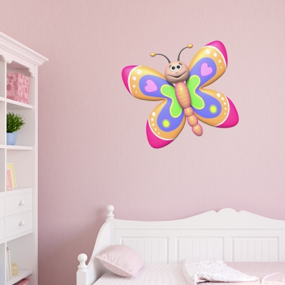 3D Heart Butterfly Printed Wall Decal