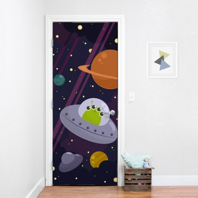 Silly Alien In Space Door Mural