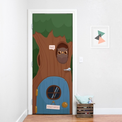 Tree House Owl Door Mural