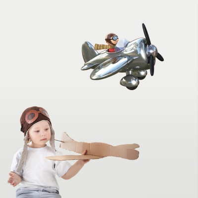 3D Plane Wall Decal Silver