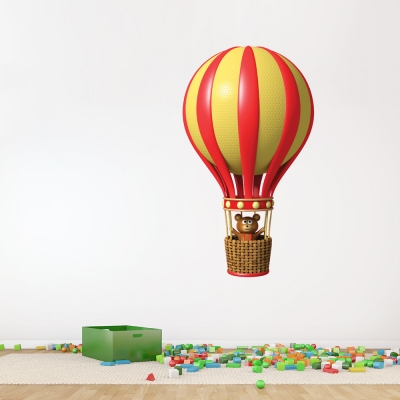 3D Teddy Bear Balloon Wall Decal