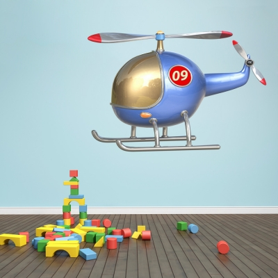 3D Helicopter Printed Wall Decal