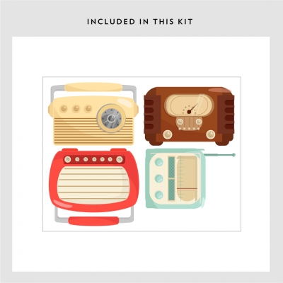 Vintage Radio Printed Wall Decal Kit