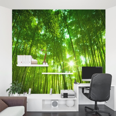 Green Bamboo Stalk Forest Wall Mural