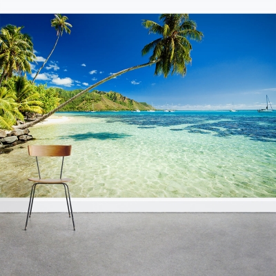 Sail Boats Beyond Palm Trees Wall Mural