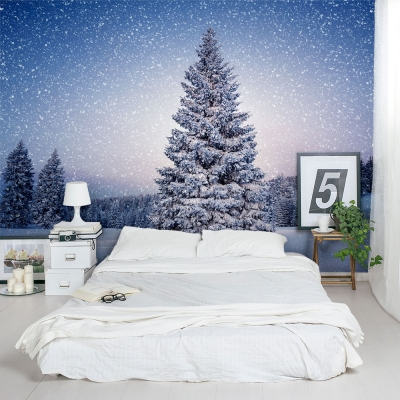 Winter Pine Tree Wall Mural