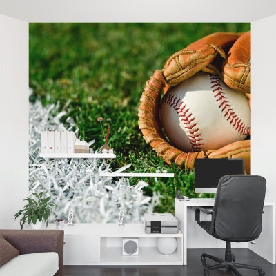 Baseball in a Glove Office Wall Mural