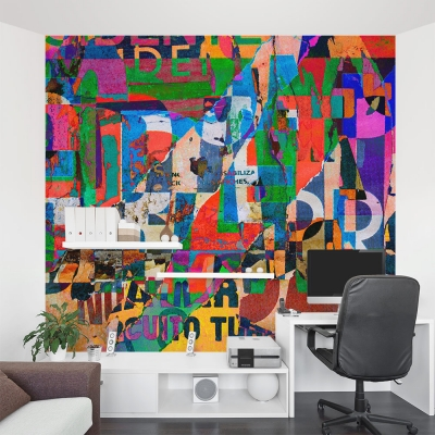 Typography Collage Wall Mural