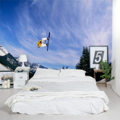 Sky High Snowboarder Bedroom Wall Mural
