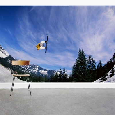 Sky High Snowboarder Wall Mural
