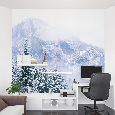 Snow Mountain Forest Wall Mural