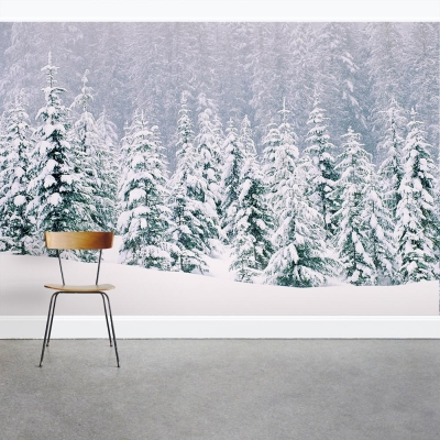 Snow Laced Trees Wall Mural