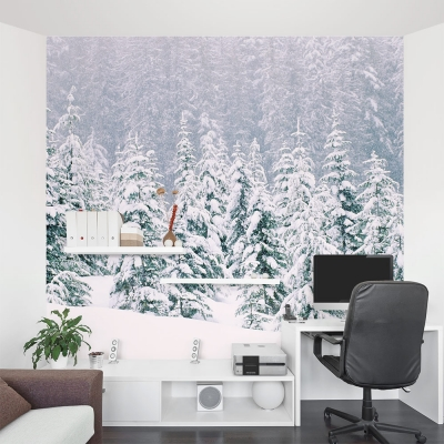 Snow Laced Trees Office Wall Mural