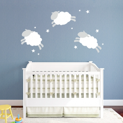 Jumping Cloud Sheep Printed Wall Decal