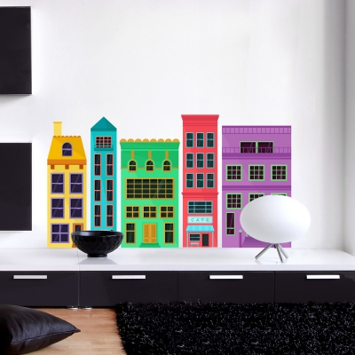 Colorful City Apartments Printed Wall Decal