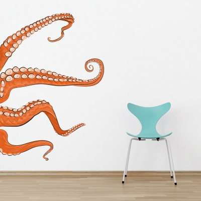 Orange Tentacles Printed Wall Decal