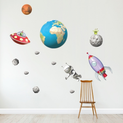 3D Outer Space Set Wall Decal