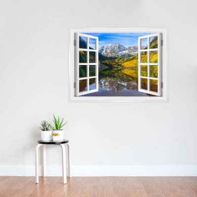 Fall Mountain Lake Window Mural