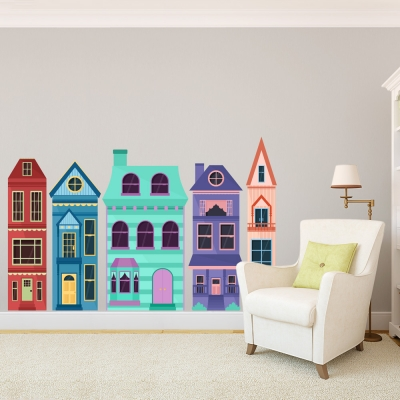 Colorful Townhouses Printed Wall Decal