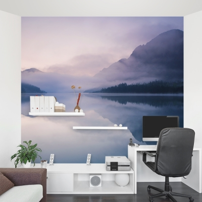 Foggy Mountain Lake Wall Mural