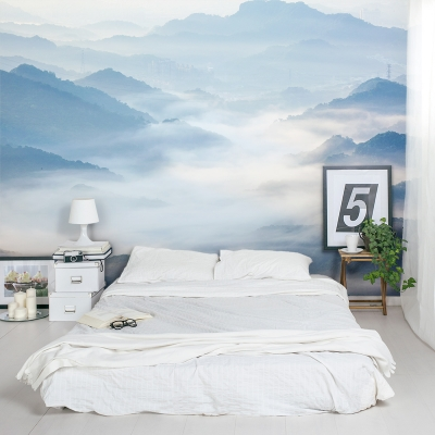 Fog Covered Mountain Valley Wall Mural