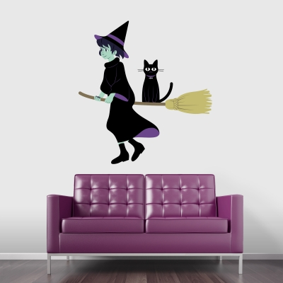 Cat, Broom, & Witch Printed Wall Decal