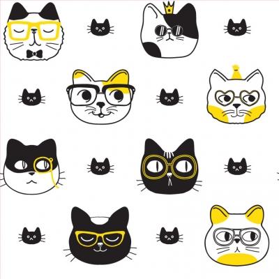 Cat Face Removable Wallpaper Tiles