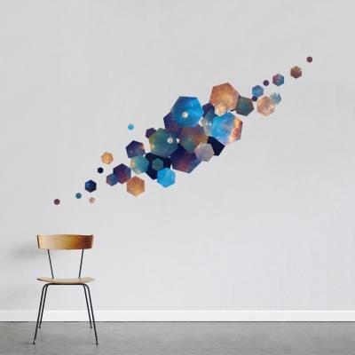 Hexagon Nebula Printed Wall Decal