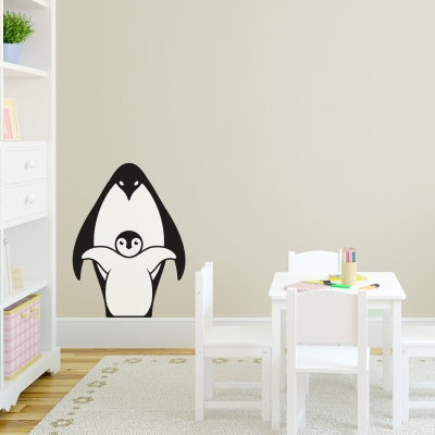 Mama and Chick Penguin Printed Wall Decal