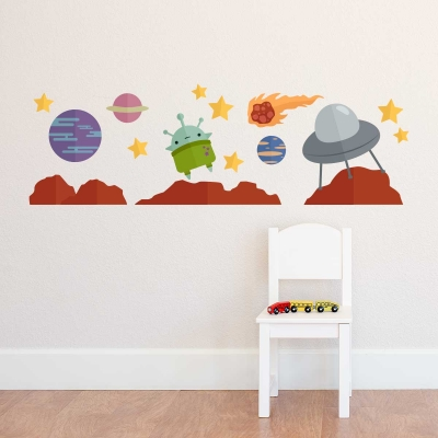Outer Space Alien Wall Decal Set
