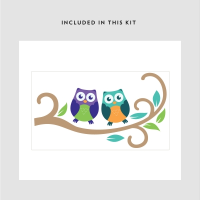 owl on branch animal decal kit