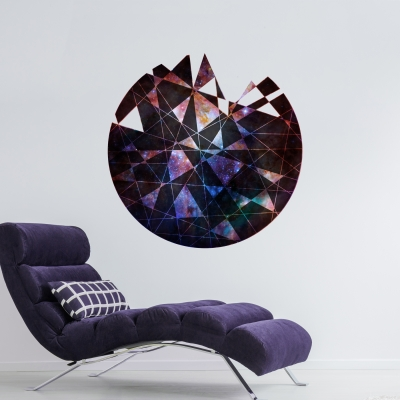Geometric Cutout Printed Wall Decal