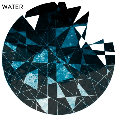 WATER - Geometric Cutout Printed Wall Decal