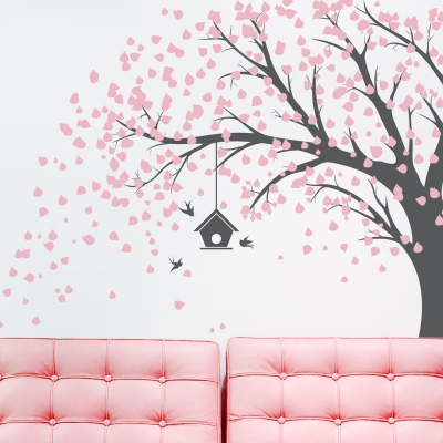 Large Windy Tree - Carnation Pink and Grey