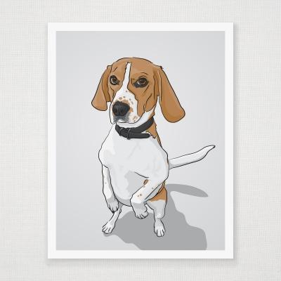 Standing Beagle print